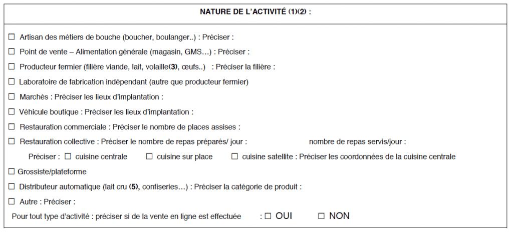 CERFA 13984*02, déclaration d'activité alimentaire, DDPP, denrées alimentaires d'origine animale