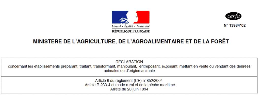 déclarer, CERFA 13984*02, déclaration d'activité alimentaire, DDPP, denrées alimentaires d'origine animale