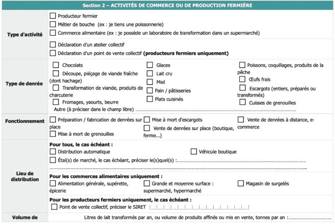 CERFA 13984 - Commerce - Production fermiere