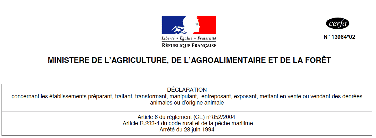 CERFA 13984*02, déclaration d'activité, DDPP, denrées alimentaires d'origine animale